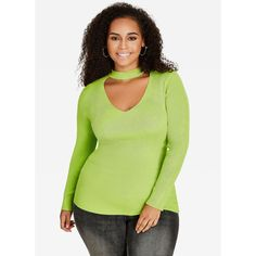 Ashley Stewart GIGI Collar Ribbed Sweater ($40) ❤ liked on Polyvore featuring tops, sweaters, green pullover sweater, green sweater, plus size long sleeve tops, sweater pullover and womens plus sweaters