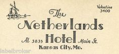 """the layout of this typeography would be great for an invite. HOTEL LETTERHEAD NETHERLANDS KANSAS CITY VINTAGE 1920S 6X9.5"""" PAPER EPHEMERA"""