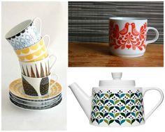 Scandinavian Folk Patterns on Tableware | Paint + Pattern