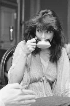 Kate Bush enjoying a cuppa