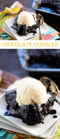 Gooey chocolate cobbler - serve this warm with a big scoop of vanilla ice cream! So good and super easy, too!