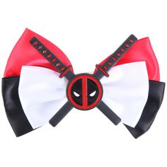 Marvel Deadpool Cosplay Hair Bow ($8.50) ❤ liked on Polyvore featuring accessories, hair accessories, black and bow hair accessories