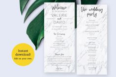 Printable Wedding Program - Ceremony Template - Bridal Party Template - Marble - Instant Download  Do it yourself marble editable wedding program template - DIGITAL FILE - 2 4x9.25 on one 8.5 x 11 paper  • A single card measures at 4 x 9.25 flat  Create your own wedding programs right at home. You Diy Wedding Programs, Printable Wedding Programs, Wedding Ceremony, Program Template, Programming, Marble, Printables, Bridesmaid, Messages