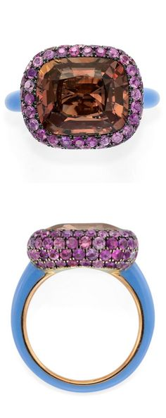 Sapphire, spinel, ceramic and gold ring by Taffin.