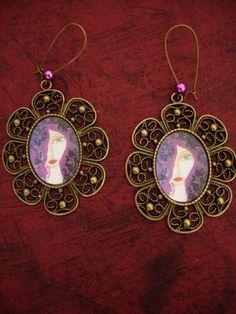 Unique  art illustrated earrings by eltsamp on Etsy, $27.00