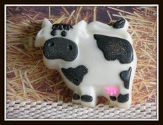These are the cutest little cow soaps you have ever seen. From the tips of their little black ears,, to their little pink udders. The kids