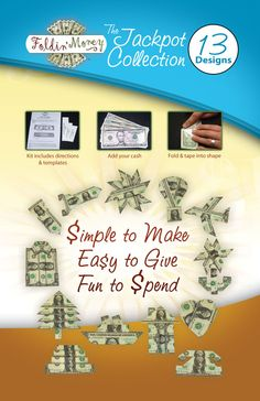 The Foldin' Money Design Kit Catalog - okay you could buy the how-to book, or figure it out yourself. *shrug*