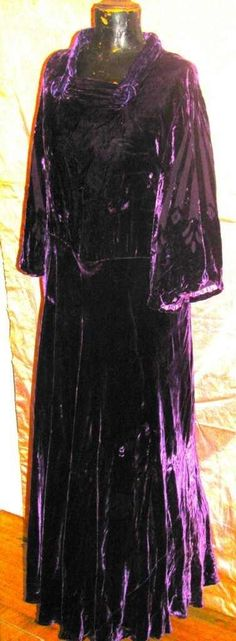 burnout purple silk velvet 30s dress.