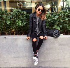 all black everything, casual style Fall Winter Outfits, Autumn Winter Fashion, Spring Outfits, Mode Outfits, Casual Outfits, Fashion Outfits, Black Outfits, Fashion Rings, Fashion Fashion