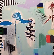 Emily Filler | PAINTINGS Blue Hydrangea, Hydrangeas, Printmaking, Contemporary Art, Mixed Media, Stripes, Flowers, Painting Abstract, Paintings