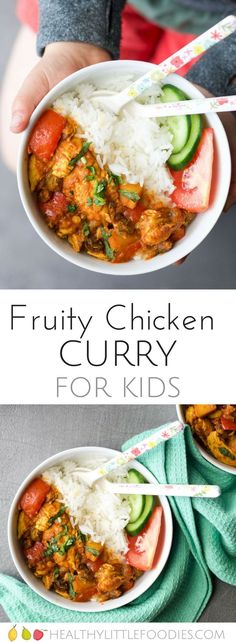 Fruity Chicken Curry. A mild curry for kids. Added apple and rasins gives this curry a delicious sweetness that kids will love. #kidsfood #kidfood #curry via Healthy Little Foodies