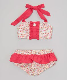 Look at this Smock Candy Pink Floral Skirted Bikini - Infant, Toddler & Girls on #zulily today!