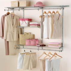 Features:  Fully Expandable Closet Organizer.  Fast And Easy To Install  With No
