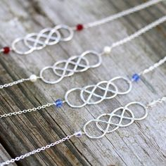 Double Infinity Bracelet with birthstones by SimplyLeilani on Etsy, $41.00