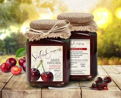 """Packaging design series for """"Süßer Genuss"""" spoon sweets by Fruit Decor. The presented spoon sweets series is a Greek product and aims to the German buying public with a main purpose to display the traditional spoon sweet through an also traditional desi… Packaging Design, Behance, Sweets, Fruit, Drinks, Gallery, Check, Food, Drinking"""