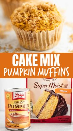 Cake Mix Muffins, Cake Mix Cookies, Cake Mix Desserts, Pumpkin Muffins Cake Mix Recipe, Easy Pumpkin Muffins, Easy Desserts, Delicious Desserts, Cupcakes, Sweet Desserts