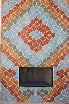Fireplace with Conche Tile Multi Color. ( Blue Spanish Inn Red, Smoke )