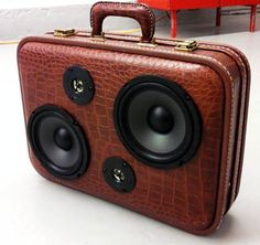 Vintage travel case converted into a box for speakers. Homemade furniture from repurposed travel cases and vintage luggage. Vintage Luggage, Vintage Travel, Best Speakers, Audio Speakers, Speaker Box Design, Leather Suitcase, Homemade Furniture, Old Suitcases, Recycled Leather