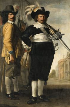 FOLLOWER OF MICHIEL JANSZ. VAN MIEREVELT ; FULL-LENGTH PORTRAIT OF TWO OFFICERS ; OIL ON CANVAS