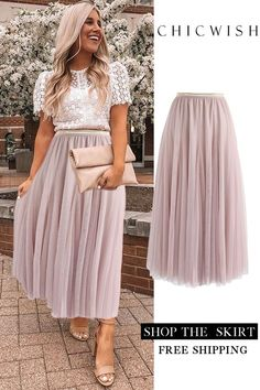 Pinker Maxi Tüllrock Casual Outfit casual party outfits for guys Modest Outfits, Skirt Outfits, Modest Fashion, Cute Outfits, Fashion Outfits, Casual Dresses, Elegant Dresses, Casual Outfits, Dress Fashion