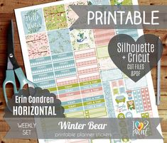 This is a cute Winter Watercolor Bear Printable Planner Stickers, a special way to decorate and organize your week in your week in your Erin Condren Planner. This Winter planner stickers were designed to fit your Horizontal EC Life Planner. Its a digital product, so you can download right away as many times as you like, print on your favorite sticker paper and cut as you wish. Because its fun to DIY! NOW WITH SILHOUETTE AND CRICUT FILES INCLUDED! *** NOTE: This is a downloadable product…