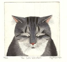 Original Cat Etching 'The Cat's Whiskers'  Something about the ears and closed eyes says worn out cat