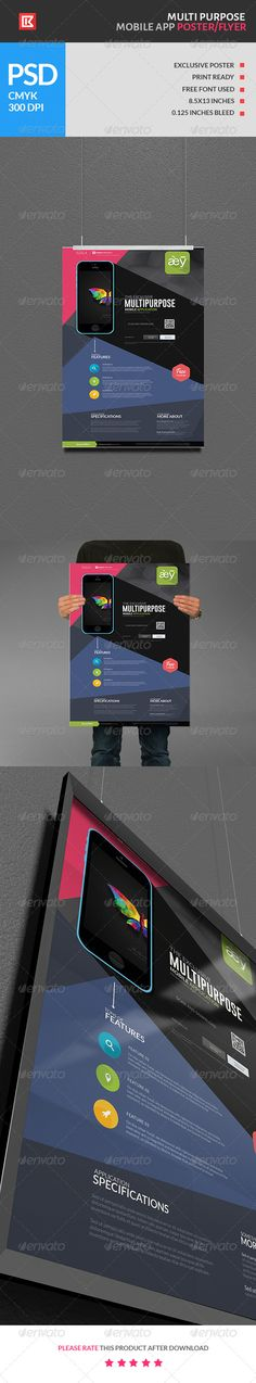 Multipurpose Mobile App Poster/Flyer.Prasenting the most exclusive Multipurpose Mobile App Poster/Flyer in the market place. With the package you have a wide range of possiblities to design almost any kind of mobile app flyers and poster for promotional activi