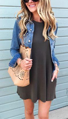 #Summer #Outfits / Gray Summer Dress + Denim Jacket