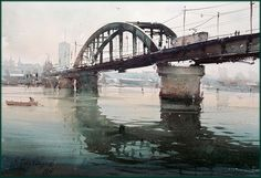 Dusan Djukaric  Old Sava Bridge, watercolor, 36x52 cm…