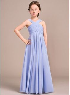 A-Line/Princess V-neck Floor-length Ruffles Chiffon Sleeveless Flower Girl Dress Flower Girl Dress