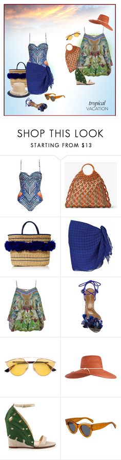 """""""Suits and Play"""" by michelletheaflack ❤ liked on Polyvore featuring Mara Hoffman, Michael Kors, Mari Giudicelli, Camilla, Aquazzura, Christian Dior, Eugenia Kim, CÉLINE, polyvorecontests and TropicalVacation"""