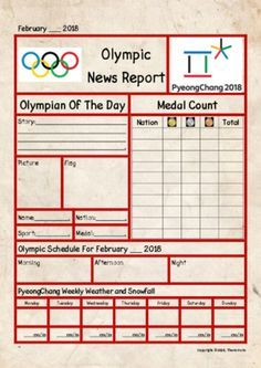 2018 Winter Olympic Newspaper from Teacher Thom on TeachersNotebook.com (1 page)