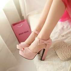Sweet Candy Color Bow Knot Thick Heel Platform Sandals - MeetYoursFashion - 5