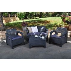 Patio Furniture Set Outdoor 4 Piece Rattan Cushion Seating Group Coffee Table
