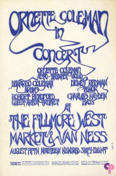 Ornette Coleman at Fillmore West 8/5/68 by Dore