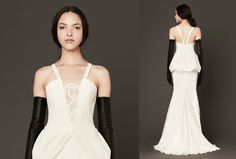 Lace never looked edgier than on this V-neck Chantilly lace mermaid gown with guipure accents