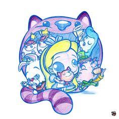 Alice in Wonderland Disney Kunst, Arte Disney, Disney Art, Kawaii Chibi, Anime Chibi, Disney Tattoos, Disney Drawings, Cute Drawings, Chesire Cat
