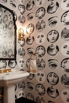 Marcus Design: {house tour: massucco warner miller} : Love this Fornasetti wallpaper. I would put in the powder room with black panelling on the bottom of the wall. Fornasetti Wallpaper, Bathroom Wallpaper, Mirrored Wallpaper, Piero Fornasetti, White Wallpaper, Diy Home Decor, Room Decor, Bathroom Renos, Kitsch Decor