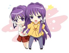 [MoePP][ Rule of Thumb: Never tease the younger sister [ Anime Chibi, Gakupo Kamui, Clannad After Story, Vocaloid, Cute Girls, Sisters, Drawings, Anime Stuff, Kawaii