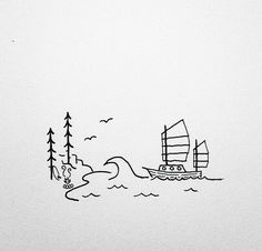 Who needs a dinghy when you can just surf to shore? Mini Drawings, Tumblr Drawings, Small Drawings, Doodle Drawings, Easy Drawings, Doodle Art, Pencil Drawings, Drawing Cartoon Characters, Cartoon Drawings