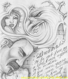Free bird Chicano Drawings, Chicano Tattoos, Ink Pen Drawings, Cartoon Drawings, Body Art Tattoos, Aztec Drawing, Batman Drawing, Chicano Love, Chicano Art