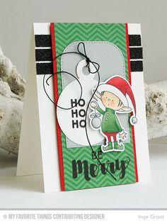 My Favorite Things, MFT, MFTWSC249, BB Santa's Elves, Gift Tag Greetings, Joyous Christmas Sentiments, Tag Builder Blueprints 4 Die-namics, Tag Builder Blueprints 2 Die-namics, Calm and Cozy Cevron Paper Pack, Copics, Christmas, Christmas Card