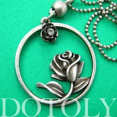 Beauty and the Beast Inspired Simple Rose Round Necklace Silver | dotoly - Jewelry on ArtFire