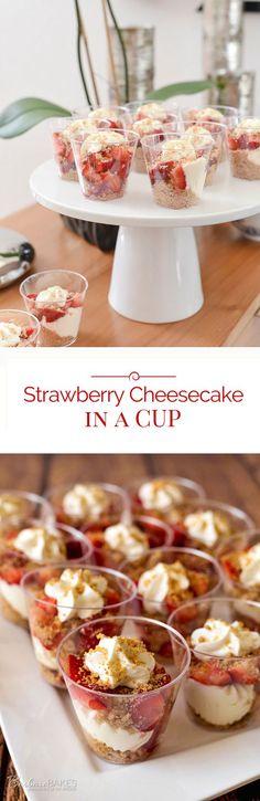 STRAWBERRY CHEESECAKE IN A JAR - cheesecake, dessert, fruit