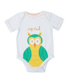 Take a look at this White 'My Owl' Organic Bodysuit - Infant by mirasa design on #zulily today!