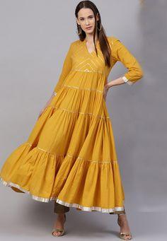 Embroidered Cotton Tiered Kurta in Yellow Party Wear Kurtis, Kurti Designs Party Wear, Kurta Designs, Blouse Designs, Frock Fashion, Fashion Dresses, Yellow Kurti, Choli Dress, Pakistani Formal Dresses