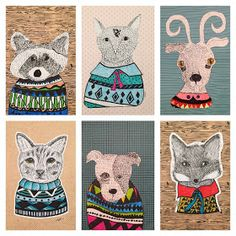 Art Room Britt: Pen and Line Original Illustrations with Geometric Sweaters