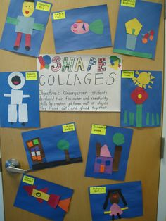 After reading Shapes in my World, students traced and cut out shapes to create shape collages.