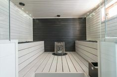 Low EMF Infrared Sauna - Advantages & Available Models Small Bathroom Tiles, Beach Bathrooms, Bathroom Spa, Bathroom Lighting, Sauna Design, Steam Sauna, Sauna Room, Infrared Sauna, Home Spa