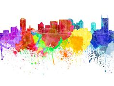 Nashville skyline in watercolor on white, 8 monochrome colors, and full color - SKU 0457